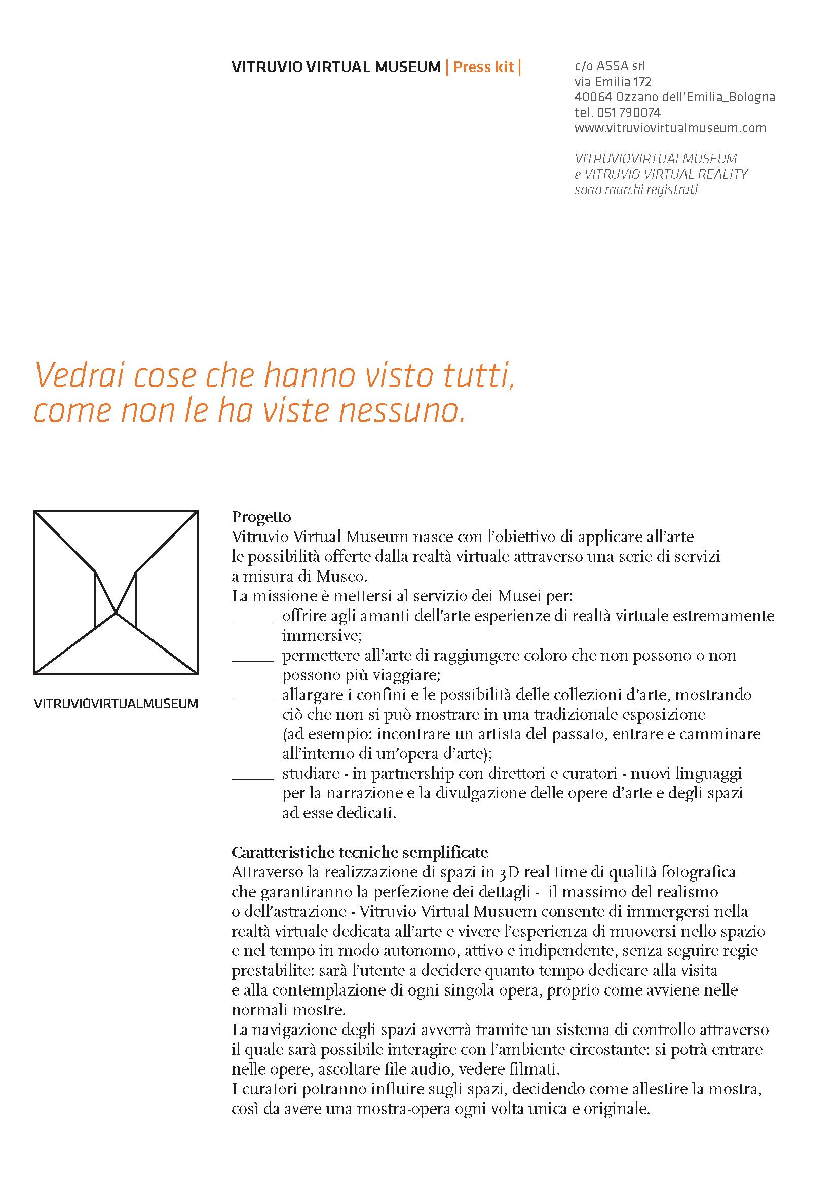 Press Kit Vitruvio Virtual Museum